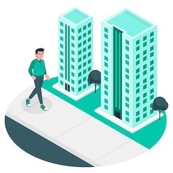 Ilustración de concepto andar en la ciudad