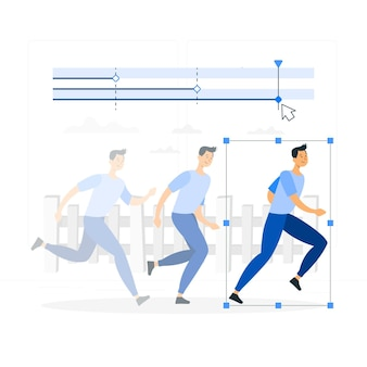 Ilustración del concepto de animación (movimiento)