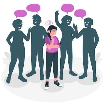 Ilustración del concepto de ansiedad social