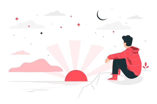 Ilustración del concepto de antes del amanecer