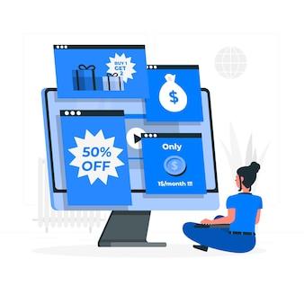 Ilustración de concepto de anuncios en línea