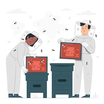 Ilustración del concepto de apicultura