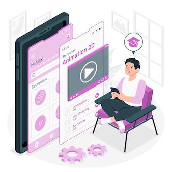 Ilustración del concepto de aplicación del curso