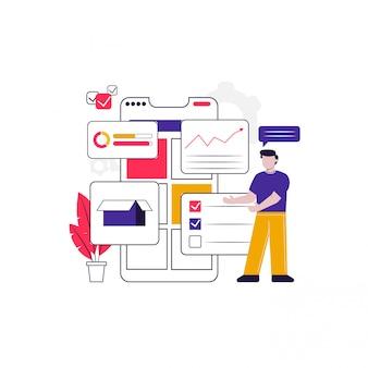 Ilustración de concepto de aplicación móvil de iu