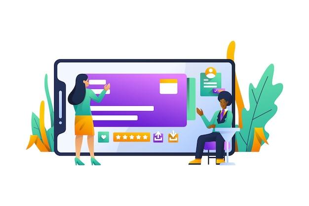 Ilustración de concepto de aplicación móvil