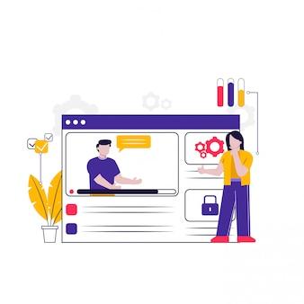 Ilustración del concepto de aplicación web para la página de destino