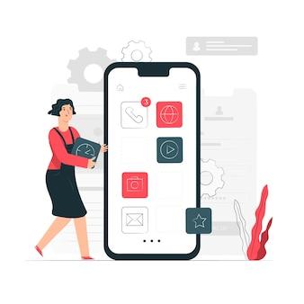 Ilustración de concepto de aplicaciones para móviles