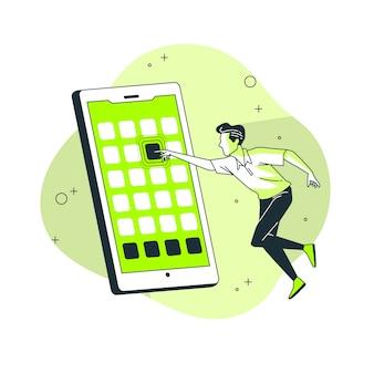 Ilustración del concepto de aplicaciones móviles