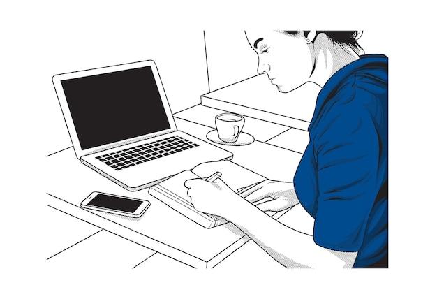 Ilustración del concepto de aprendizaje en línea
