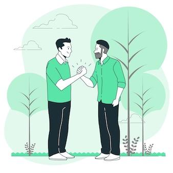 Ilustración de concepto de apretón de manos amistoso