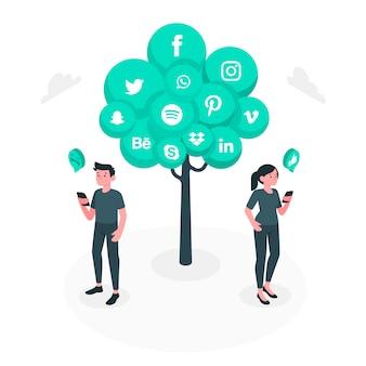 Ilustración de concepto de árbol social