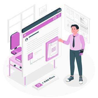 Ilustración de concepto de archivos adjuntos