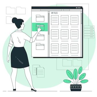 Ilustración de concepto de archivos personales digitales