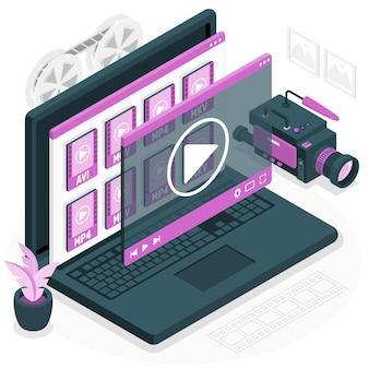 Ilustración de concepto de archivos de video