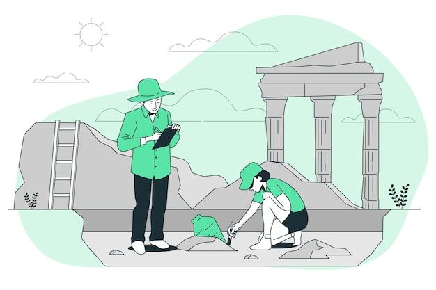 Ilustración del concepto de arqueología