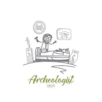 Ilustración del concepto de arqueólogo