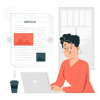 Ilustración de concepto de artículo en línea
