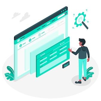 Ilustración del concepto de asistente de configuración