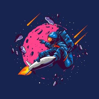 Ilustración concepto astronauta paseo en cohete