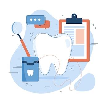 Ilustración de concepto de atención dental plana