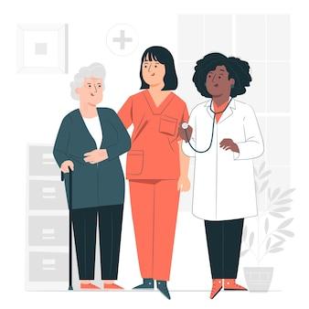 Ilustración del concepto de atención médica