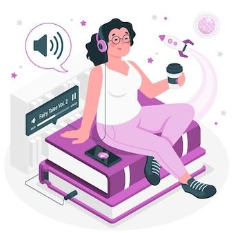 Ilustración del concepto de audiolibro