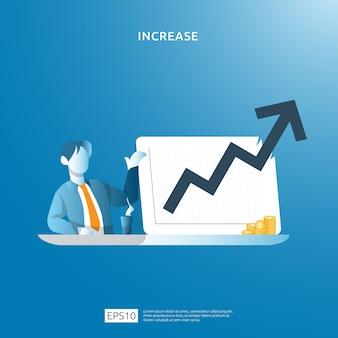Ilustración de concepto de aumento de tasa de salario de ingresos con carácter de personas y flecha. crecimiento de las ganancias comerciales, la venta aumenta los ingresos del margen con el símbolo del dólar. rendimiento financiero del retorno de la inversión roi