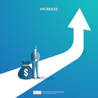 Ilustración de concepto de aumento de tasa de salario de ingresos con carácter de personas y flecha. rendimiento financiero del retorno de la inversión roi. crecimiento de las ganancias comerciales, ventas aumentan los ingresos del margen con el símbolo del dólar