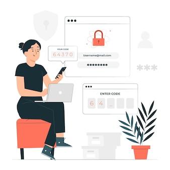 Ilustración del concepto de autenticación de dos factores