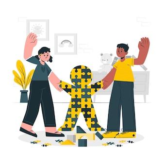 Ilustración del concepto de autismo