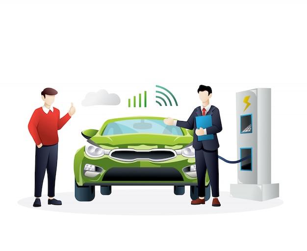 Ilustración del concepto de automóvil inteligente