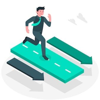 Ilustración del concepto de avanzando