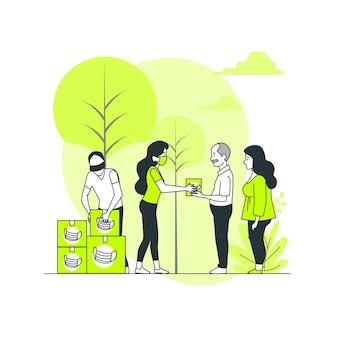 Ilustración del concepto de ayuda humanitaria (personas donando equipo de protección sanitaria)