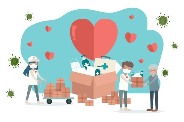 Ilustración del concepto de ayuda humanitaria
