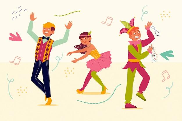Ilustración con el concepto de bailarines de carnaval