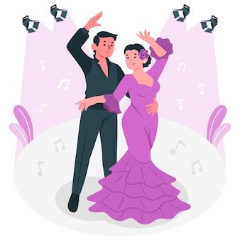 Ilustración de concepto de baile flamenco