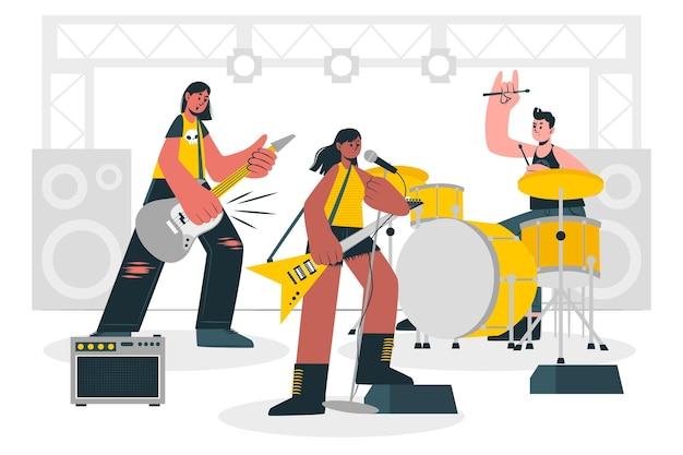 Ilustración del concepto de banda de rock