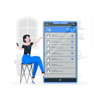 Ilustración del concepto de bandeja de entrada móvil