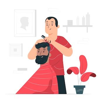 Ilustración del concepto de barbero