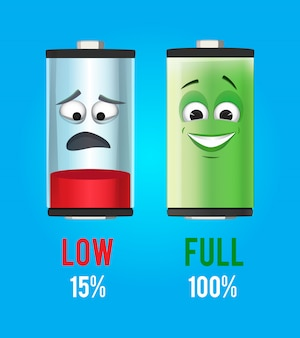 Ilustración del concepto baterias de personajes con carga completa y baja. diseño de la mascota del vector