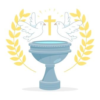 Ilustración de concepto de bautismo de dibujos animados