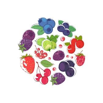 Ilustración del concepto de bayas frescas