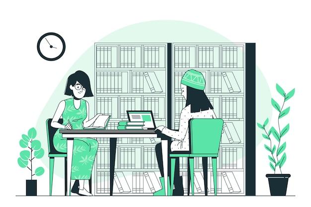 Ilustración del concepto de biblioteca