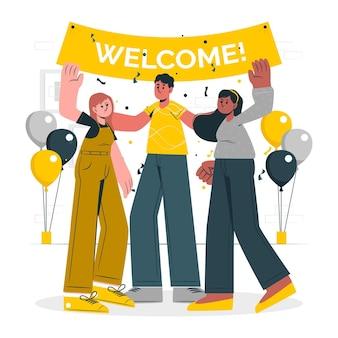 Ilustración del concepto de bienvenida