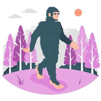 Ilustración del concepto de bigfoot