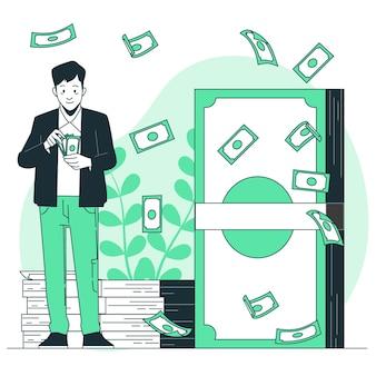 Ilustración del concepto de billete de banco