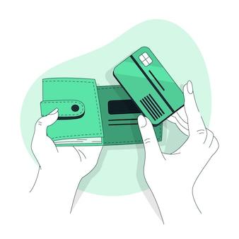 Ilustración del concepto de billetera