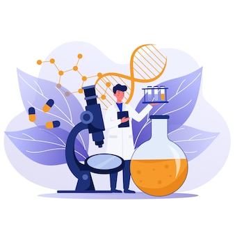 Ilustración de concepto de biotecnología plana