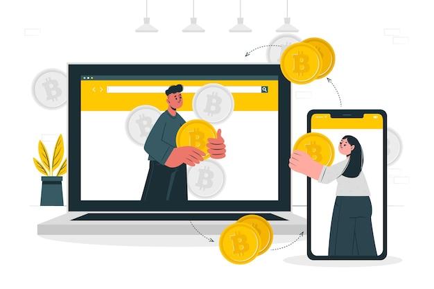 Ilustración del concepto de bitcoin p2p