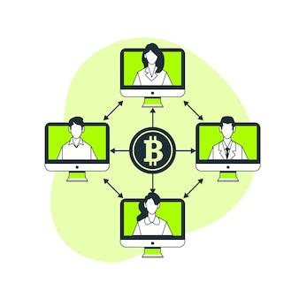 Ilustración de concepto de bitcoin p2p